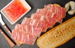 Toast of bread with acorn-fed Iberian ham on stone slate