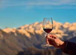 Toast with a glass of red wine with the Picos de Europa in the background