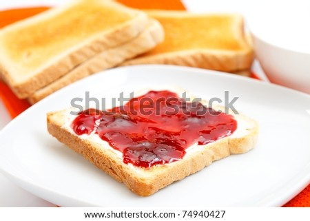 Toast with delicious jam and milk