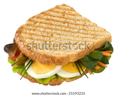 Toast with eggs, vegetables and mushrooms
