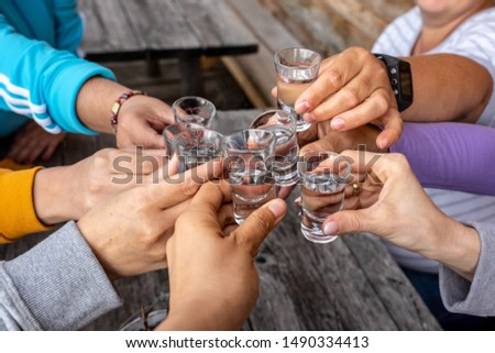 toast with friends with spirits shots #1490334413