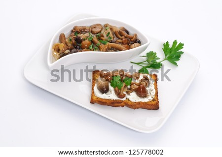Toast with mushroom and cheese - stock photo