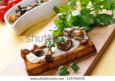 Toast with mushrooms and cheese, appetizer