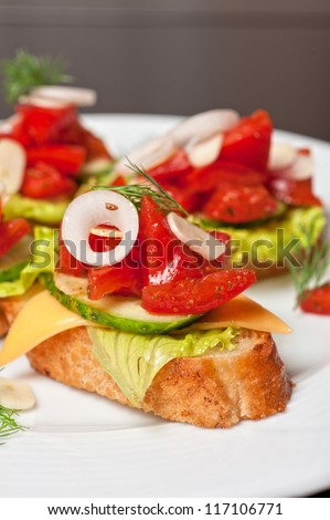 Toast with vegetables, cheese, tomato, pepper, onion, cucumber and garlic