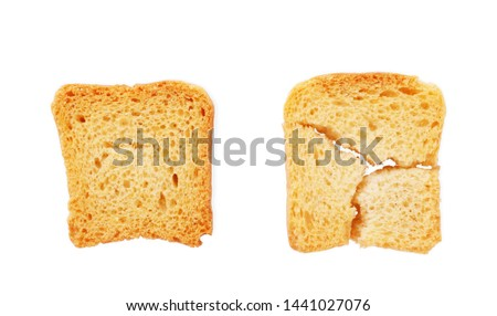 Toasted bread (Italian bruschetta toasts) isolated on white background. Slices of toasted baguette set #1441027076