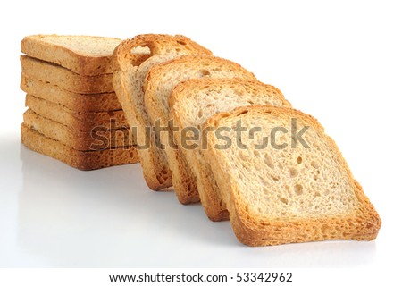 Toasted bread studio isolated on a white background