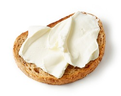 toasted bread with cream cheese isolated on white background