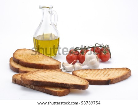 toasted bread with tomato garlic and oil