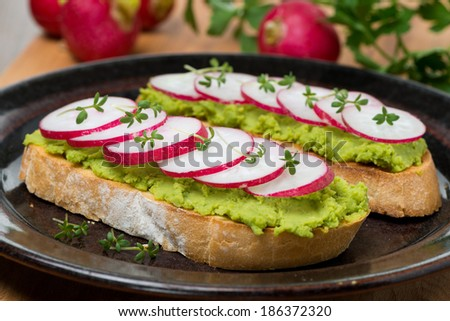 toasted ciabatta with pate of avocado and fresh radish, close-up, horizontal