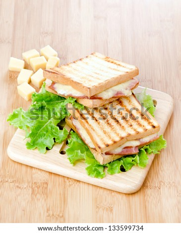 toasted sandwiches on salad leaf - stock photo