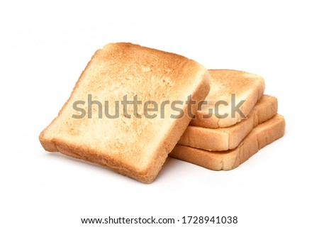 Toasted white bread isolated on white background Foto stock ©