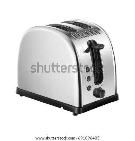 Toaster Isolated on White Background. Two-Slice Stainless Steel Toaster Oven. Domestic Appliances. Electric Appliances. Kitchen Appliances #691096405
