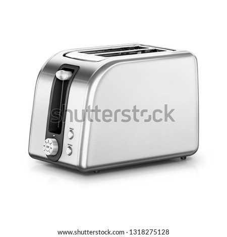 Toaster Isolated on White. Classically Styled Two-Slot 2 Slice Toast Maker. Side View Stainless Steel Two Slice Pop Up Automatic Toaster Oven. Domestic and Home Electric Kitchen Appliances Stock photo ©