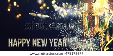 Toasting with champagne glasses on sparkling holiday background - Shutterstock ID 478178899
