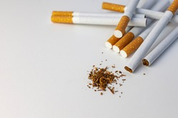Tobacco. Cigarettes on a white background, top view