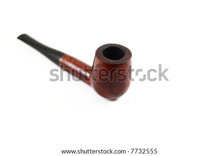 tobacco pipe isolated on white with blur effect