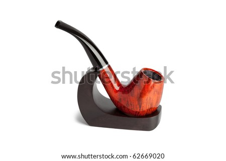 tobacco pipe on a stand color image isolated on a white background