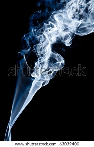 Tobacco smoke. On black background.