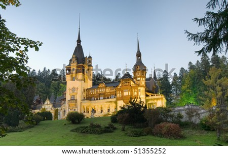 Today a historical monument, Peles Castle  is a Neo-Renaissance castle placed in an idyllic setting in the Carpathian Mountains, near Sinaia - stock photo