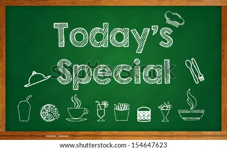 Today\'s Special with foods and beverages on chalkboard