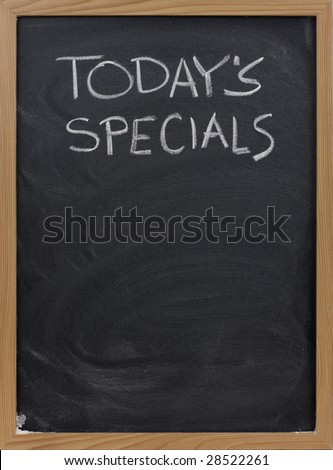 today's specials title handwritten with white chalk on blackboard, copy space below