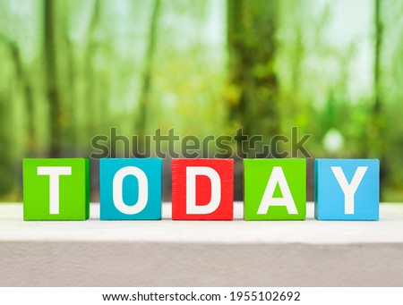 TODAY word written on wooden colorful blocks on a green nature background. Word TODAY written on wooden cubes Stock photo ©