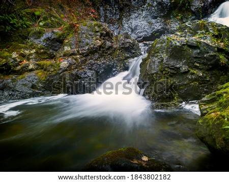 Todd Creek's Late Fall Landscape Series-A photo of Todd Creek small waterfall closeup in long exposure after the fall rain  Stock fotó ©