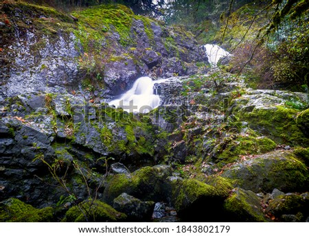 Todd Creek's Late Fall Landscape Series-A photo of Todd Creek small waterfall  in long exposure after the fall rain  Stock fotó ©