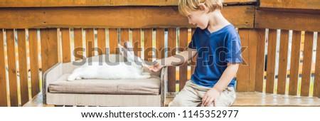 toddler boy caresses and playing with rabbit in the petting zoo. concept of sustainability, love of nature, respect for the world and love for animals. Ecologic, biologic, vegan, vegetarian BANNER #1145352977
