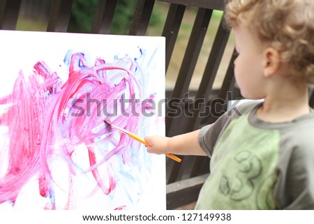 Toddler boy, child, drawing, finger painting, making art