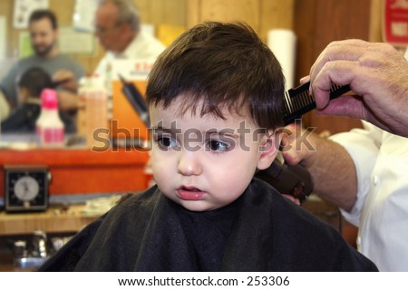 Toddler boy getting his first hair cut at the barbershop.