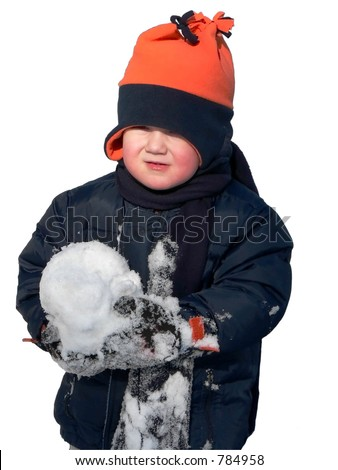 Toddler with snowball