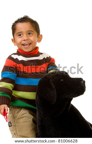 Toddler with Stuffed Dog