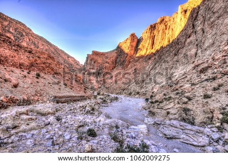 Todgha Gorge or Gorges du Toudra is a canyon in High Atlas Mountains near the town of Tinerhir, Morocco #1062009275