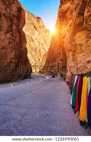 Todgha Gorge or Gorges du Toudra is a canyon in High Atlas Mountains near the town of Tinerhir, Morocco #1226990065