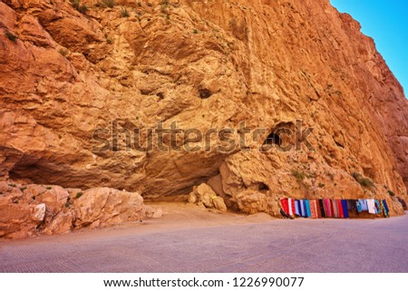 Todgha Gorge or Gorges du Toudra is a canyon in High Atlas Mountains near the town of Tinerhir, Morocco #1226990077