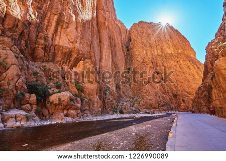 Todgha Gorge or Gorges du Toudra is a canyon in High Atlas Mountains near the town of Tinerhir, Morocco #1226990089