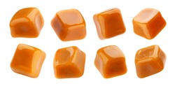 Toffee candy, caramel candies isolated on white background with clipping path, collection