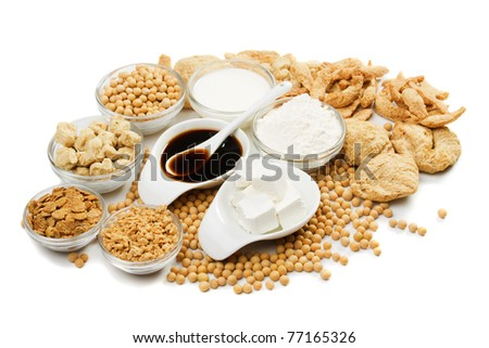 Tofu and other soy products isolated on white background