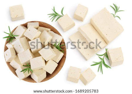 tofu cheese isolated on white background with clipping path and full depth of field, Top view with copy space for your text. Flat lay Сток-фото ©