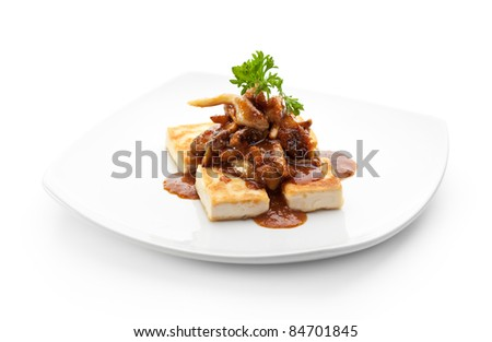 Tofu (Soy-bean Curd) with Mushrooms and Sauce