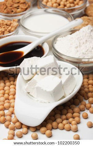 Tofu, soy milk, flour and other products of soybean
