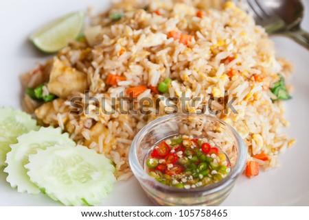 Tofu,vegetable fried rice and fish sauce,Thai menu