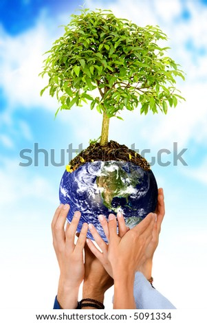 together protecting the planet - hands holding the earth with a tree over a blue sky in the background