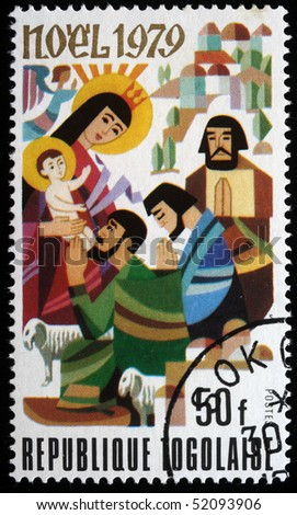 TOGO - CIRCA 1979: A post stamp printed in the Republic of Togo shows Adoration of Magi, circa 1979