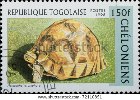 TOGO - CIRCA 1996: A stamp printed in Togo  shows animal reptile turtle Asterochelys yniphora, circa 1996