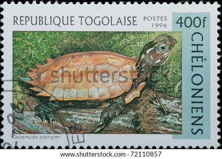 Togo - CIRCA 1996: A stamp printed in Togo shows animal reptile turtle Geoemyda spengieri, circa 1996