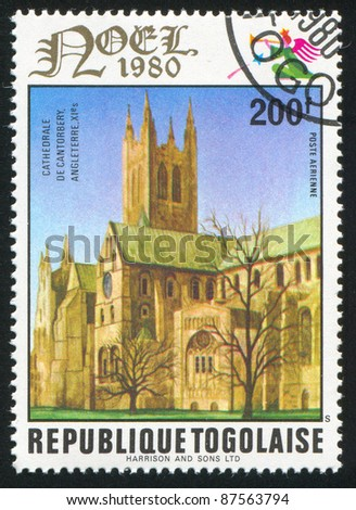 TOGO - CIRCA 1980: stamp printed by Togo, shows Canterbury Cathedral, England, circa 1980.