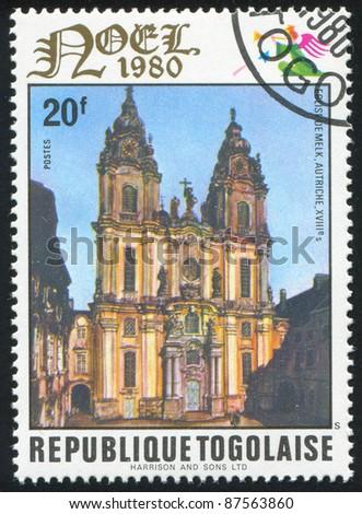 TOGO - CIRCA 1980: stamp printed by Togo, shows Melk Monastery, Austria, circa 1980.