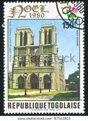 TOGO - CIRCA 1980: stamp printed by Togo, shows Notre Dame, Paris, circa 1980.